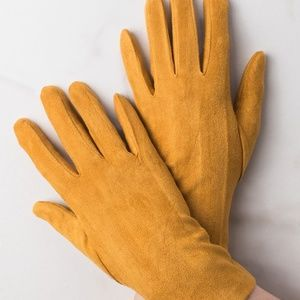 Marigold Faux Suede Gloves